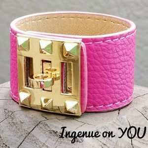 New! Pink Leather Cuff Bracelet Gold-Tone Plate